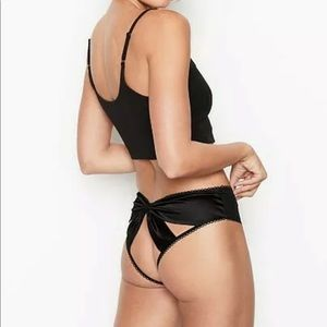 Victoria's Secret Black Bow Panty Med NEW
